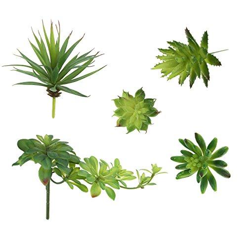 LJY Künstliche gemischte Blumen-Arrangements, Akzente, ungetopfte kleine Pflanzen, 5 Stück