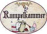 Kaltner Präsente Geschenkidee - Holz Türschild im Antik Design Motiv RUMPELKAMMER (Ø 18 cm)