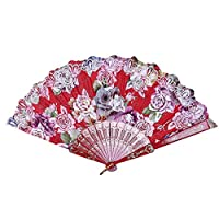 TREW Portable Beste Chinese stijl Dance Party Wedding Lace Silk Folding Hand Held Fan Flower Home Decoration Vintage Chinese Fans Wind (Color : Red)