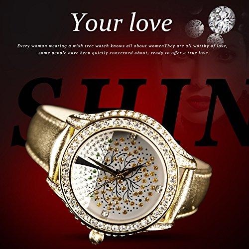 Time100 Romantische Wunschbaum-Serie Strass-Damen-Armbanduhr mit Lederband Gold #W50022L.02A