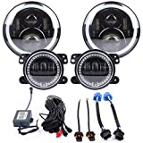 ZHUOYUE 2Pcs 7Inch Round Proiettore Daymaker LED Fari RGB Halo E RGB 4 Pollici Fendinebbia Per Jeep Wrangler Bluetooth APP Controllo Del Telefono