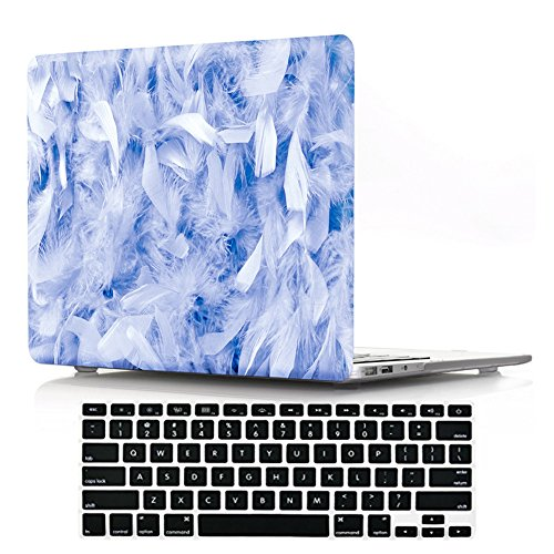 "DIGIC MacBook 13"" Retina Cover Case with Keyboard Protector, Hard Plastic Feather Pattern Laptop Shell for MacBook Retina Display Pro 13.3 inch(A1502/A1425),Blue Feathers"