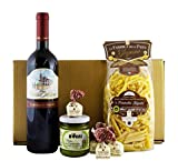 Goldenes Italien Geschenkset CENA PER DUE (Pasta, Rotwein, Pesto, Tartufi) mit italienischer Feinkost