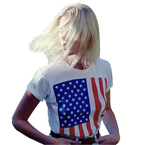 CAOQAO Streifen Einfache Damen Sommer American Flag Print Tank Top Casual Shirt T-Shirt