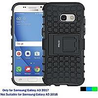 Funda Samsung Galaxy A3 2017, Fetrim soporte Proteccion Cáscara Cases delgada de golpes Doble Capa de Tough silicona TPU + plastico Anti Arañazos de Protectora para Samsung Galaxy A3 2017 - Negro