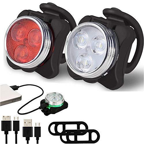 Cypapa Mangetal LED,Fitnessbikes Lampensets Fahrrad-Rücklicht Bodenleuchte Fahrradlicht Set USB Radsport Beleuchtung Laufzeit 5 Stunden, Wasserdicht Staubdicht-5x4.5x3.5cm(4 Licht-Modus)