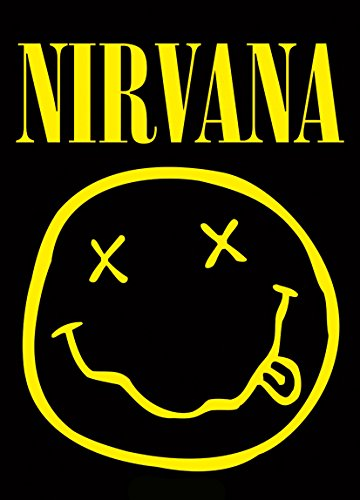 Heart Rock Licensed Bandiera Nirvana - Smiley, Tessuto, Multicolore, 110X75X0,1 cm