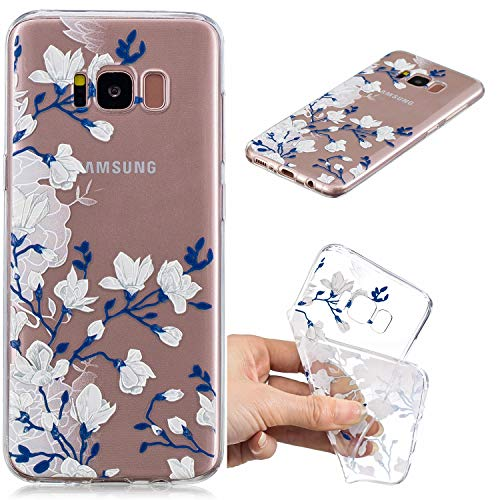 Cozy Hut Samsung Galaxy S8 Plus Hülle,Samsung Galaxy S8 Plus Case, Samsung Galaxy S8 Plus Silikon Hülle Schutzhülle Etui Bumper für Samsung Galaxy S8 Plus - Blaue weiße Magnolie -