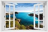 Wallario Poster - Ibiza - Blick von Einer Bucht aufs Meer