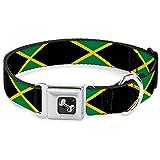 Buckle Down Jamaika Flaggen Hundehalsband Bone, groß/38,1–66cm