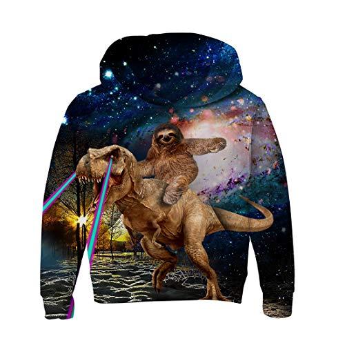 n Mädchen Baumwolle Cartoon Dinosaurier Hoody Coole 3D Grafik Langarm Pullover Sweatshirt für Party tragen ()
