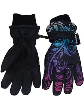 N'Ice Caps Mädchen Ombre Blumengraphik Kinder Skihandschuhe Wasserdicht Thinsulate für Kaltem Wetter Schwarz
