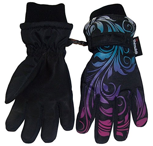 N'Ice Caps Girls Ombre Shaded Print Waterproof and Thinsulate Winter Snow Gloves Thinsulate Winter Liner