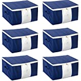 HomeStrap Non Woven Big Underbed Storage/Bag with Window - Blue - 6 PC