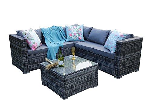 Yakoe Papaver Serie Outdoor 5 Sitzer Polyrattan Lounge Set Ecksofa Gartengruppe Gartenmöbel...