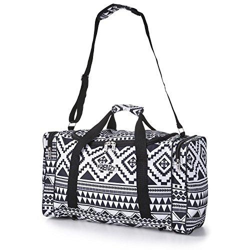 5 Cities Superleichtes Reisegepäck Bordgepäck Handgepäck Sporttasche, ideal für Wochenend, Kurztrips, Sport und Trainingstasche – 3 Jahre Garantie (Aztekisch schwarz weiß)