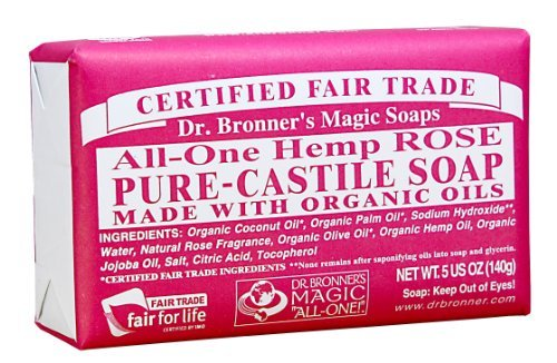 Rose Castile Soap Bar (Dr. Bronner'S Magic Soaps Organic Castile Bar Soap, Rose, 5 Ounce by Dr. Bronner's)