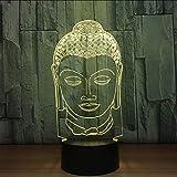 Shuyinju 3D Nachtlicht 7 Bunte Usb Buddha Kopf Modellierung Kreative Lampen Buddhismus Tischlampe Led Schlaf Beleuchtung Für Wohnkultur Geschenk