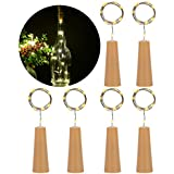 PChero 6 PCS Bottle Cork Copper Wire LED String Lights For Wine Bottle DIY, Craft Projects, Home Decoration, Party, Halloween Holidays, Christmas, And Wedding D Cor - Warm White Light