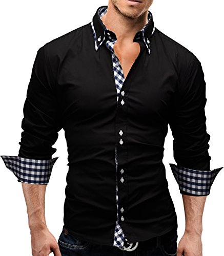 MERISH Herren Business Hemd Slim Fit Button Down Karierte Kontraste Modell 37 Schwarz