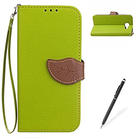 Samsung Galaxy C7 Pro Case,MAGQI Samsung Galaxy C7 Pro Retro Two-Color Design Cover,Premium PU Leather Slim Fit Wallet Case and [Free 2 in 1 Stylus Pen] Detachable Hand Strap Stand Function Card Slots & Holder Magnetic Flip Notebook Protective Skin Cover for Samsung Galaxy C7 Pro Shell with Soft Inner Rubber Case - Green