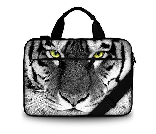 Luxburg® Design Gepolsterte Business- / Laptoptasche Notebooktasche bis 17,3 Zoll mit Schultergurt, Mehrzwecktasche, Motiv: Tigeraugen