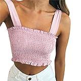 Tank tops damen Kolylong® Frauen reizvoller von der Schulter Kurze Ärmel Bluse elegant T-Shirt hemd oberteile Crop tops Partykleidung (Pink-a, S)