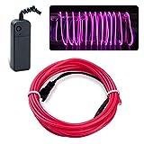Lychee Flexibel 15 ft 5 m Neon Beleuchtung Draht Lichtschlauch Leuchtschnur EL Kabel Wire mit 3 Modes für Partybeleuchtung (Rosa)