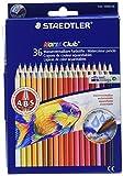 Staedtler Noris Club 144 10ND36 Aquarell-Buntstifte, erhöhte Bruchfestigkeit, sechskant, Set mit 36 brillanten Farben, kindgerecht nach EN71, PEFC-Holz