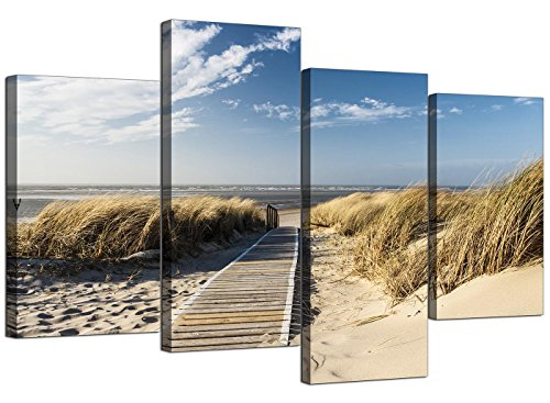 Canvas Wall Art of a Beach for your Living Room - Set of Four Affordable Seaside Canvas Pictures - 4197 - WallfillersÃ'® by Wallfillers