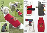 King Cole 4115 Knitting Pattern Christmas Dog Coats knit in King Cole DK