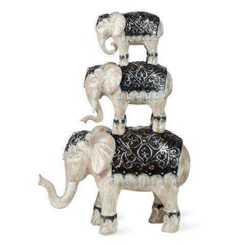 Art Deco Home - Figura 3 Elefantes Resina 34 cm