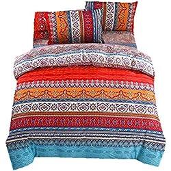 Parure de Lit Boheme Exotique Style Ethnique Mandala Linge de lit Microfiber Housse de Couette Taies d'oreiller Housse Drap de lit (Coloré, 220x240cm)
