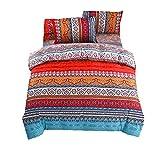 Bettwäsche Set 4-Teilig Bohemian Bettbezug Set Boho Indischen Exotischen Ethnischen Stil Mandala Bettwäsche Set Mit Bettlaken Kissenbezug (Bunt, 200x230cm)