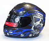 Best Crash Helmets - Viper RS-44 Skull Motorcycle Helmet M Matt Blue Review