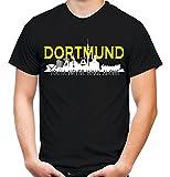 Dortmund Skyline Männer und Herren T-Shirt | Fussball Ultras Geschenk | M1 (XXXXL, Schwarz)