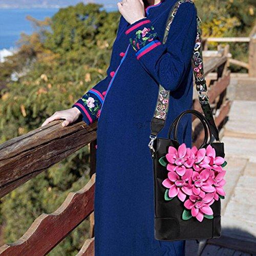 Frauen PU Handtasche National Wind Gestickte Retro Blume Schulter Diagonale Tasche RoseRed