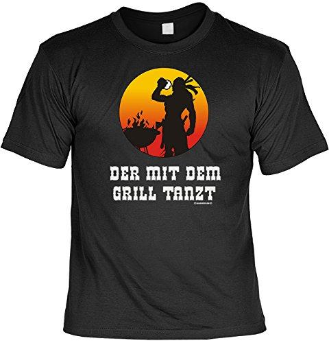 Griller T-Shirt Der mit dem Grill tanzt BBQ Shirt geil bedruckt Geschenk Set mit Mini Flaschenshirt Schwarz