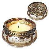 Charcasa Glas-Teelichthalter im Vintage Look, 4er-Set (Gold)