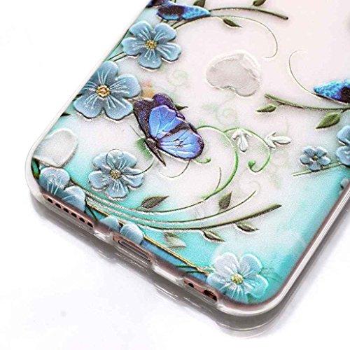 Custodia iPhone 6 6S 4.7 ,JIENI Trasparente Cover Moda rosa Rose Flessibile TPU Silicone Bumper Case per Apple iPhone 6 6S 4.7 HX44