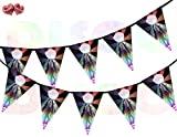 Dance Floor with Dancers Disco Ball Rainbow Flash on Black background I Love 70's 80's 90's Theme Bunting Banner 15 Flags For Guaranteed Stylish Amazing party decoration by PARTY DECOR