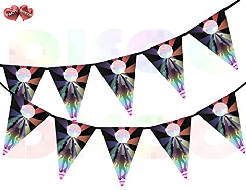 Dance Floor with Dancers Disco Ball Rainbow Flash on Black background I Love 70's 80's 90's Theme Bunting Banner 15 Flags For Guaranteed Stylish Amazing party decoration by PARTY
