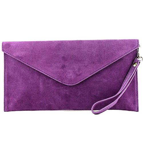 modamoda de - ital. Ledertasche Clutch Unterarmtasche Abendtasche Citytasche Wildleder T106, Präzise Farbe:Lila (Clutch Tasche)