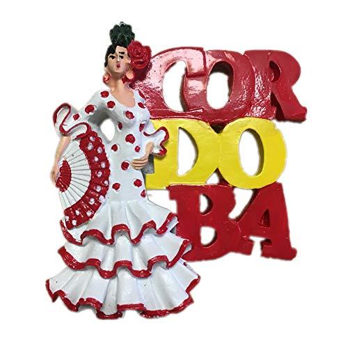 Weekinglo Souvenir Fridge Magnet Girl Dance Cordoba Spain Resin 3D Handmade Crafts Tourist Travel City Souvenir Collection Letter Refrigerator Sticker