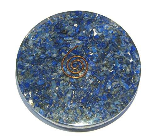 CRYSTALMIRACLE 161 gramos Lapislázuli orgonita posavasos de cristal curación Reiki Feng Shui regalo positivo energía Wellness meditación garganta Chakra Balancer Aura hecho a mano Espiritual Sabiduría