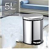 JHBJ basura Latas de basura de acero inoxidable cubos de basura basura de la cocina Creative basura de basura de la casa de la moda 5L Papelera