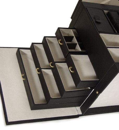 BRUBAKER-Joyero-tamao-XXL-piel-sinttica-color-negro