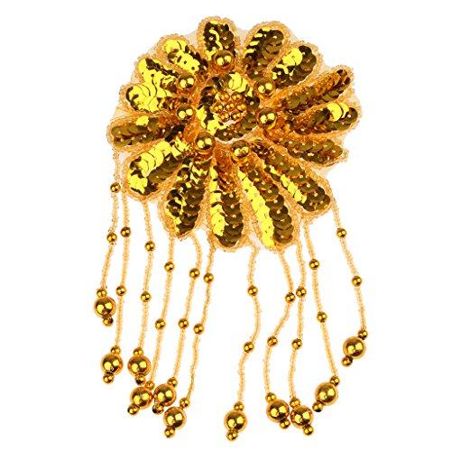 Das Ballett Applikationen Kostüm Für - chiwanji Pailletten Perlen Applique Bühnenkostüm Ethnischen Haarteil DIY Eisen/Annähen - Gold, 9cm*8.3cm*6cm