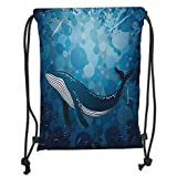 Fevthmii Drawstring Backpacks Bags,Whale,Vintage Whale Poster Motif on Marine Grunge Backdrop Retro Ocean Graphic,Petrol And Violet Blue Soft Satin,5 Liter Capacity,Adjustable String Closur