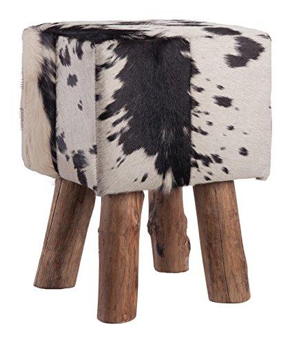 HomeStylist Fellhocker Holzfuss eckig Schwarz/Weiß, Sitzhocker aus echtem Fell gepaart mit Holzfüßen